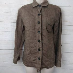 Coldwater Creek 100% Linen Button Up Drawstring XS